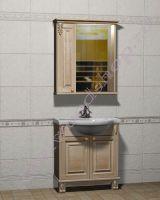 """Гарнитур для ванной комнаты из массива """"Челси-2 УОРВИК-80 береза"""" с зеркалом-шкафом (левая дверка)"""
