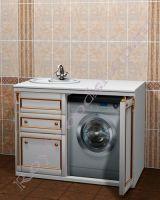"""Тумба под стиральную машину """"Руссильон PROVENCE-120 белое золото"""". Расположение раковины слева."""