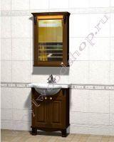 """Мебель в ванную из дерева """"Челси-2 УОРВИК-55 орех"""" с зеркалом-шкафом (левый)"""