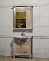"""Ванная мебель из дерева """"Челси-2 УОРВИК-80 береза"""" с зеркалом-шкафом (правая дверка)"""
