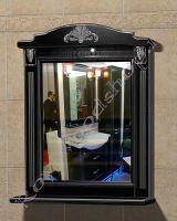 """Зеркало с полкой для ванных комнат """"Руссильон PROVENCE-85 черное дерево"""""""