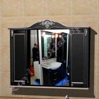 """Зеркальный навесной шкаф """"Руссильон PROVENCE Комби-L черный"""""""